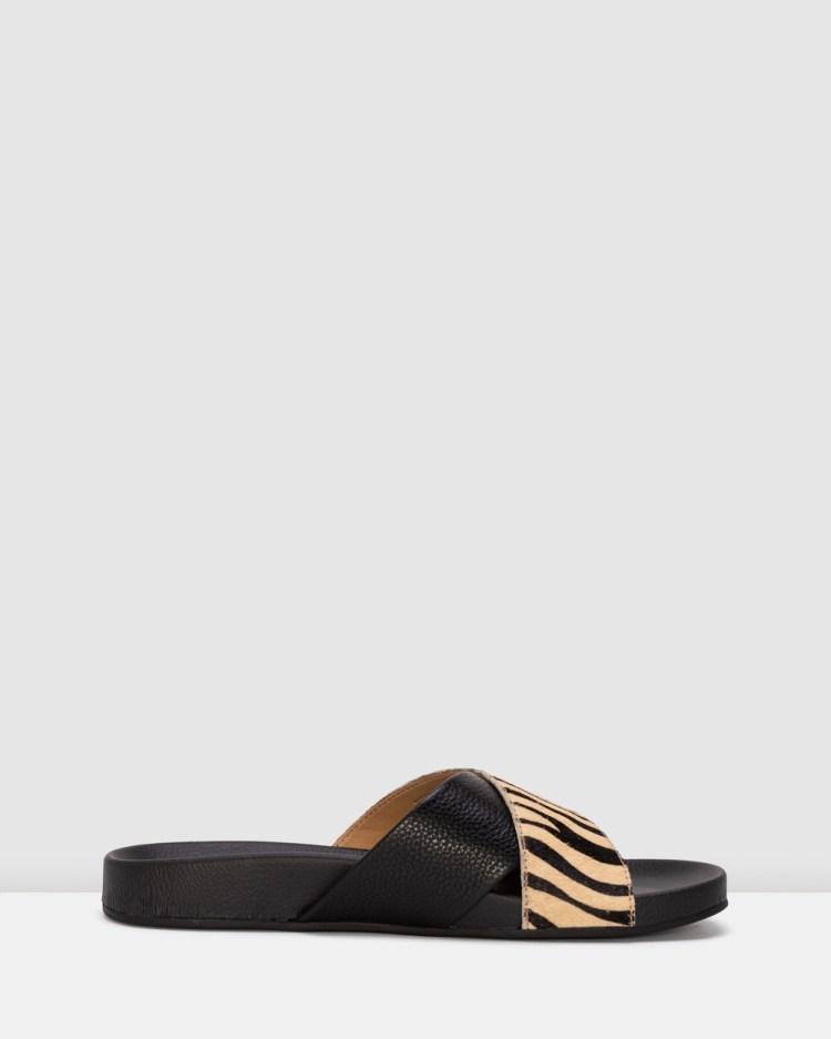 Rollie Tide Cross Slide Sandals Stripe Print