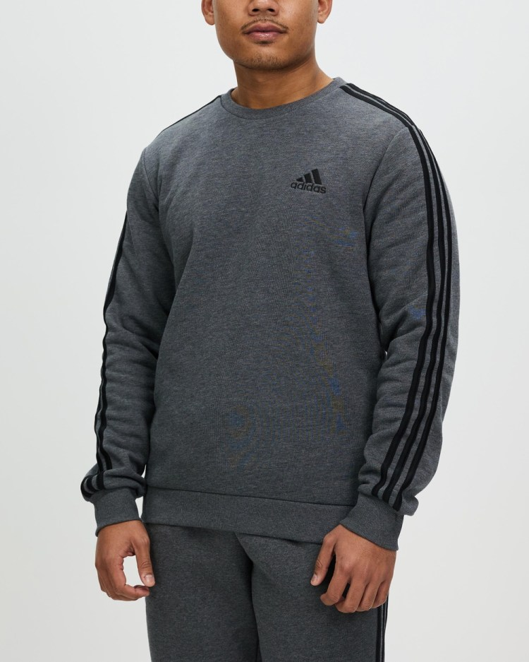 adidas Performance Essentials Fleece 3 Stripes Sweatshirt Crew Necks Dark Grey Heather & Black 3-Stripes