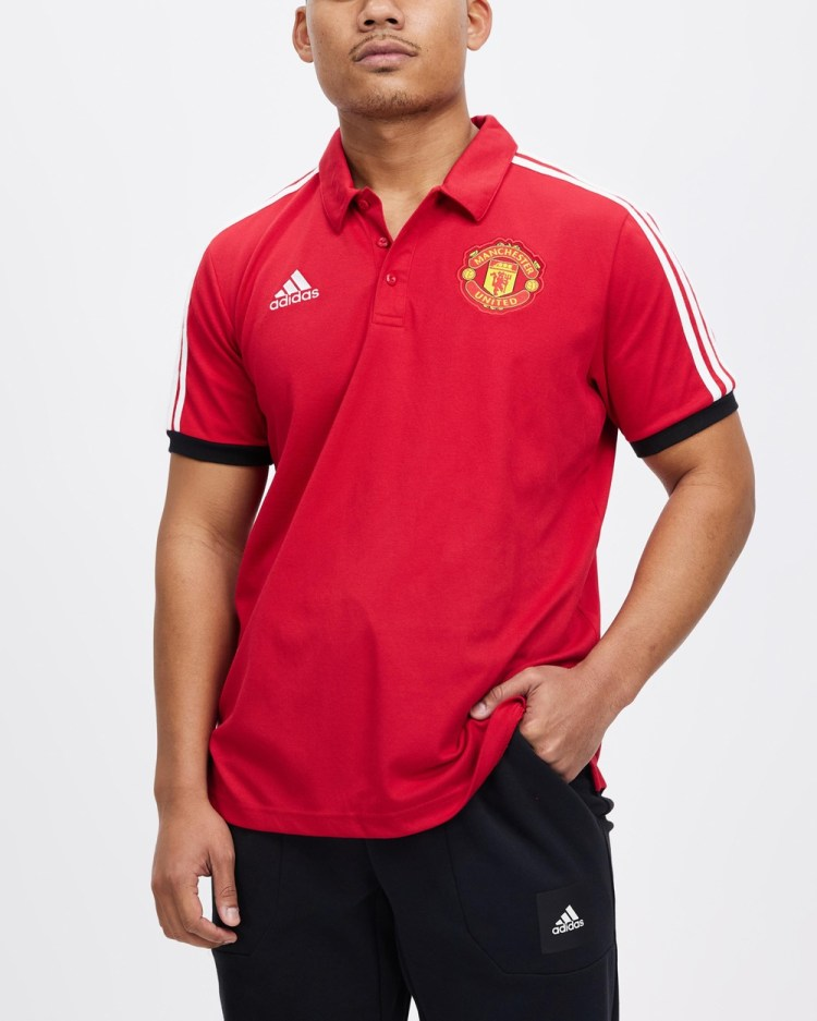 adidas Performance Manchester United FC 3 Stripes Polo Shirts & Polos Real Red 3-Stripes