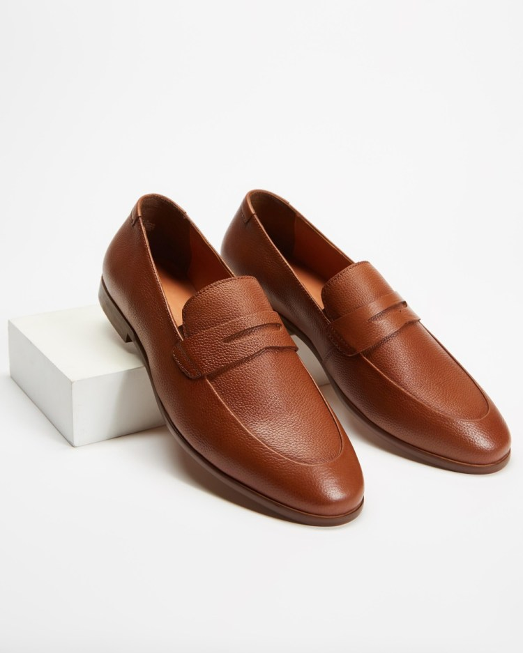 Double Oak Mills Anthony Leather Loafers Dress Shoes Tan
