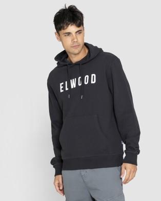 Elwood Mens Huff N Puff Hood Hoodies Jet Black