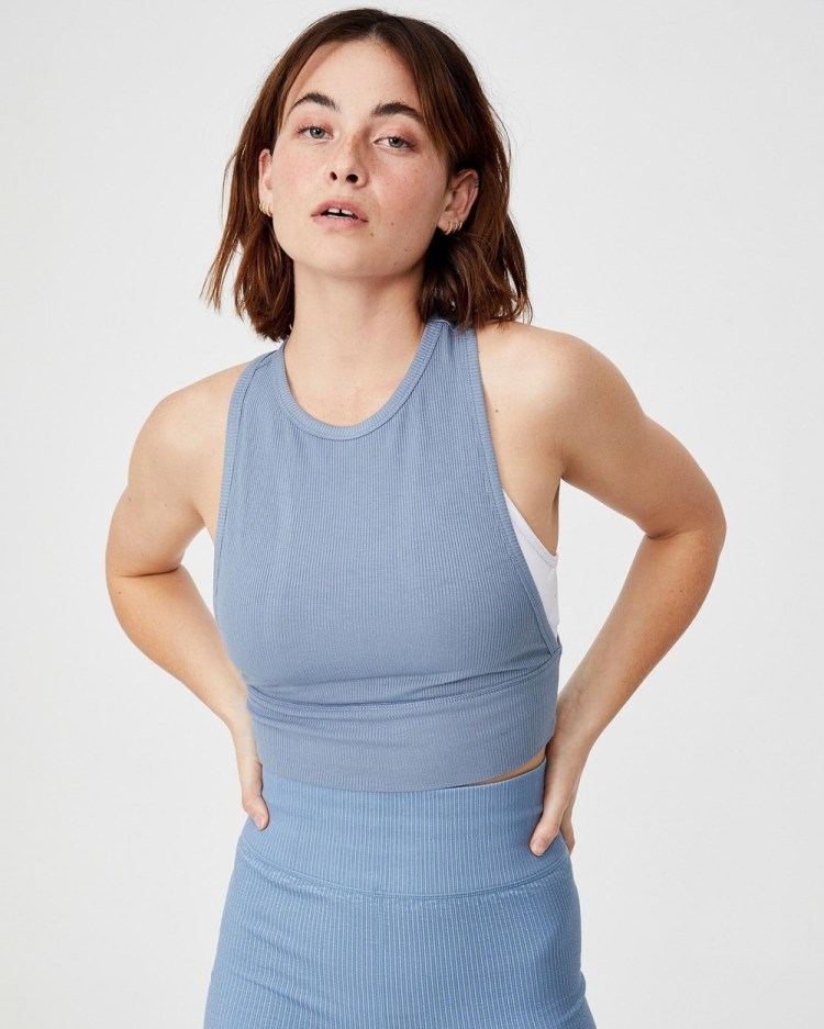 Cotton On Body Active Layering Crop Tank Tops Blue