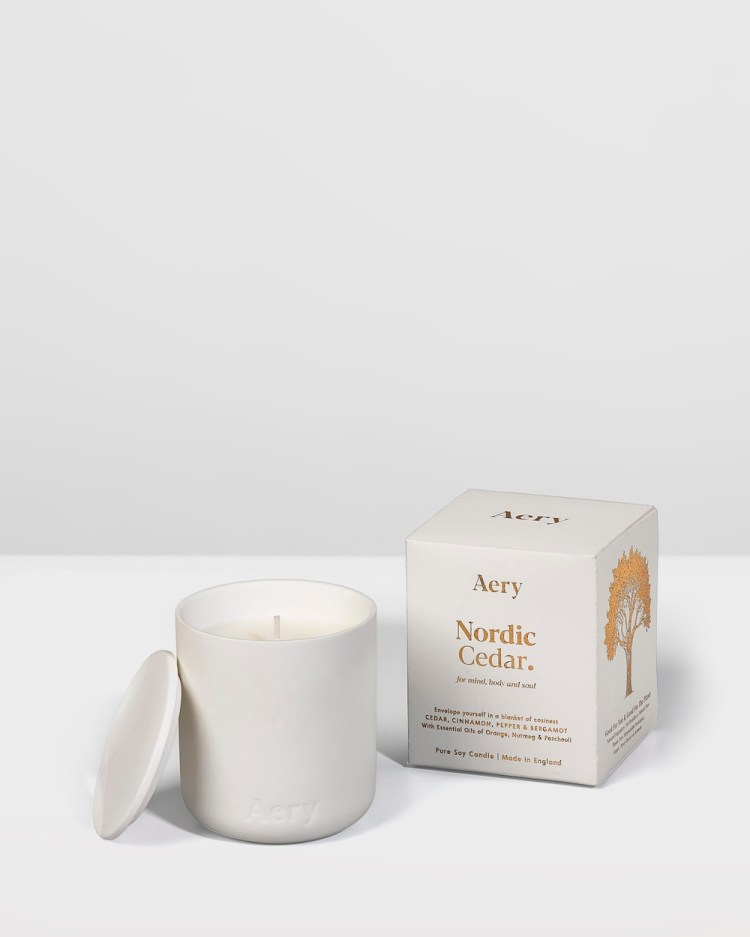 Aery Living Fernweh Matte Ceramic Candle with Lid Nordic Cedar Candles White