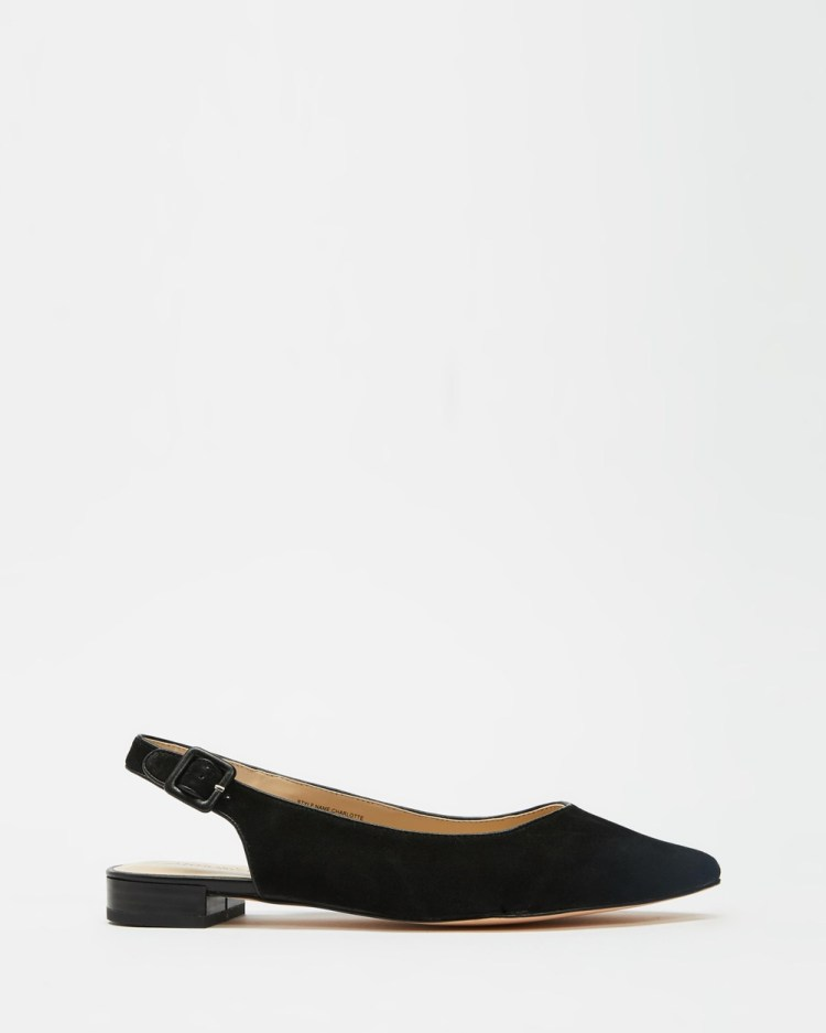 Atmos&Here Charli Leather Slingback Flats Sandals Black Suede