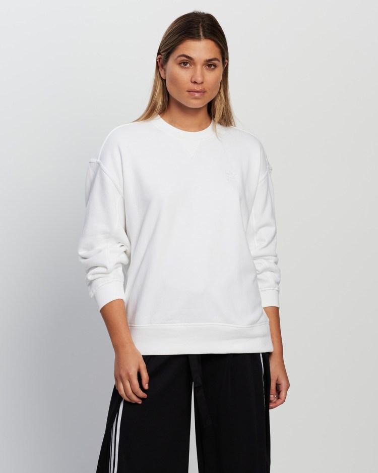 adidas Originals 3D Trefoil Oversized Sweatshirt Sweats White