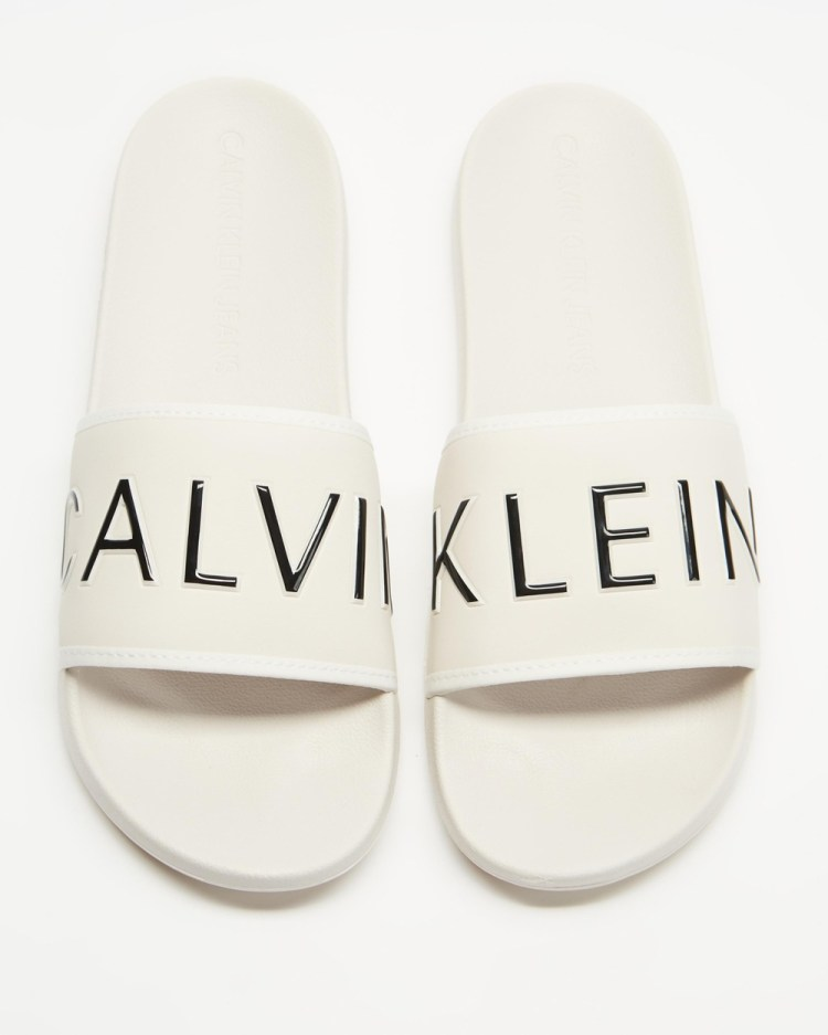 Calvin Klein Jeans CK Padded Slides Casual Shoes White Sand