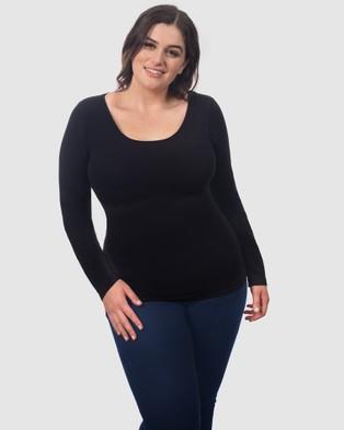 B Free Intimate Apparel - Curvy Bamboo Long Sleeve Top - Sleepwear & Loungewear (Black) Curvy Bamboo Long Sleeve Top