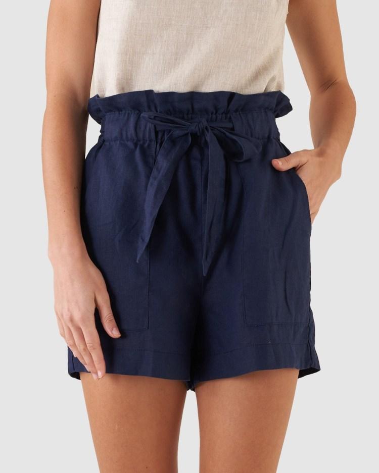 Amelius Sahara Linen Shorts Navy