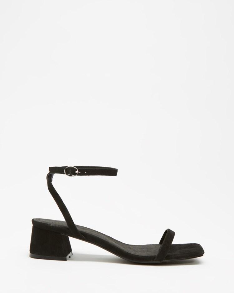 AERE Mid Heel Suede Strappy Sandals Black Suede