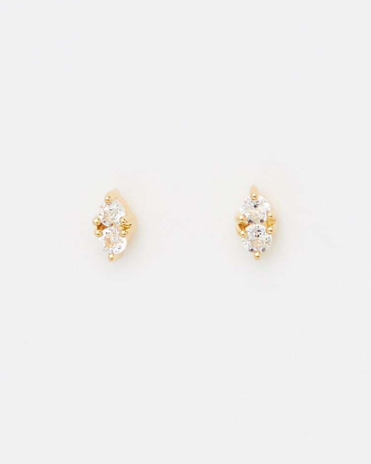 Aletheia & Phos Charmer Studs Jewellery Gold White Topaz