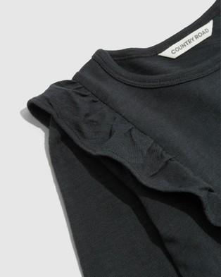 Country Road Organically Grown Cotton Slub Frill T shirt T-Shirts & Singlets grey T-shirt