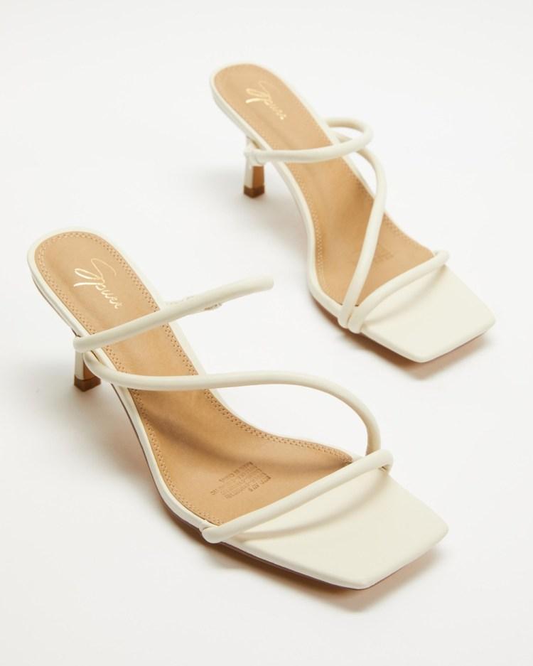 SPURR Tara Heels Sandals Off White Smooth