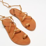 AERE Ankle Tie Leather Sandals Shoes Tan Leather Australia