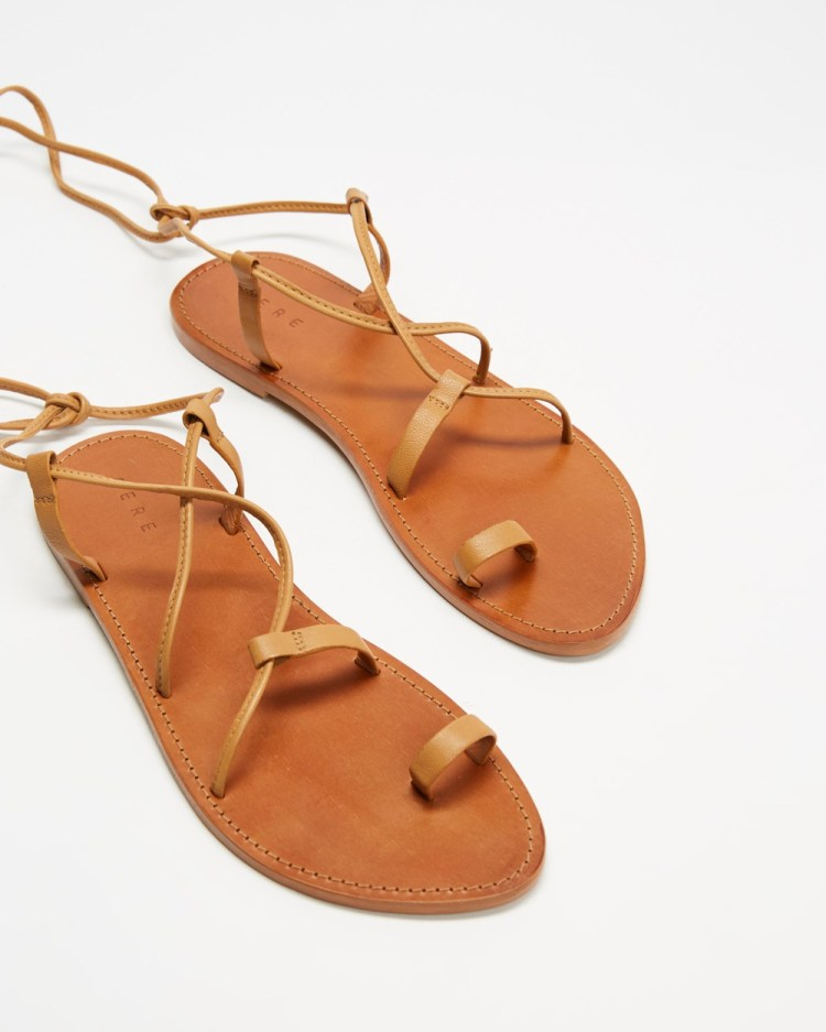 AERE Ankle Tie Leather Sandals Shoes Tan Leather