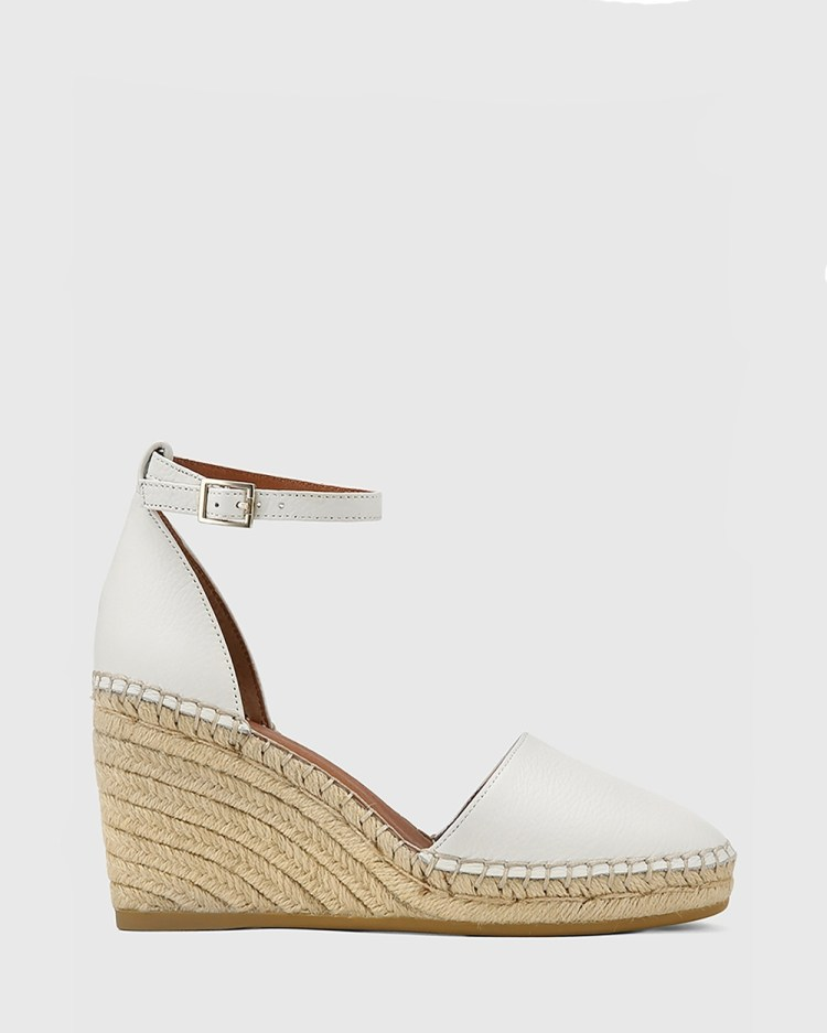 Wittner Zaylee Leather Wedge Heel Espadrilles Casual Shoes White