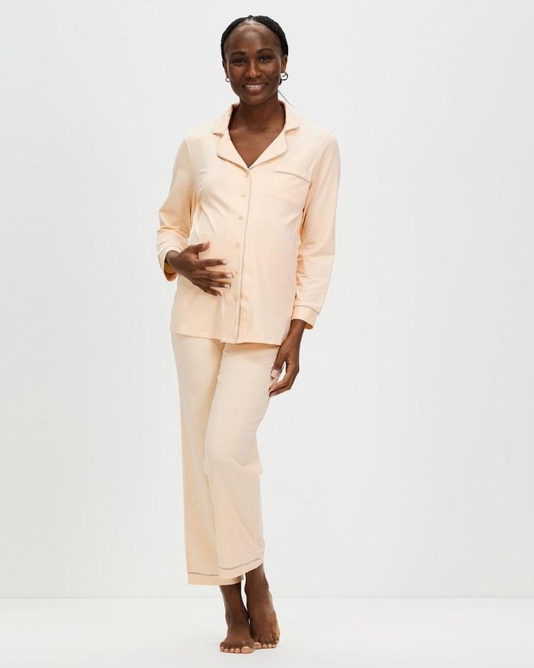 Angel Maternity and Nursing Long Sleeve Pyjama Set Two-piece sets Peach