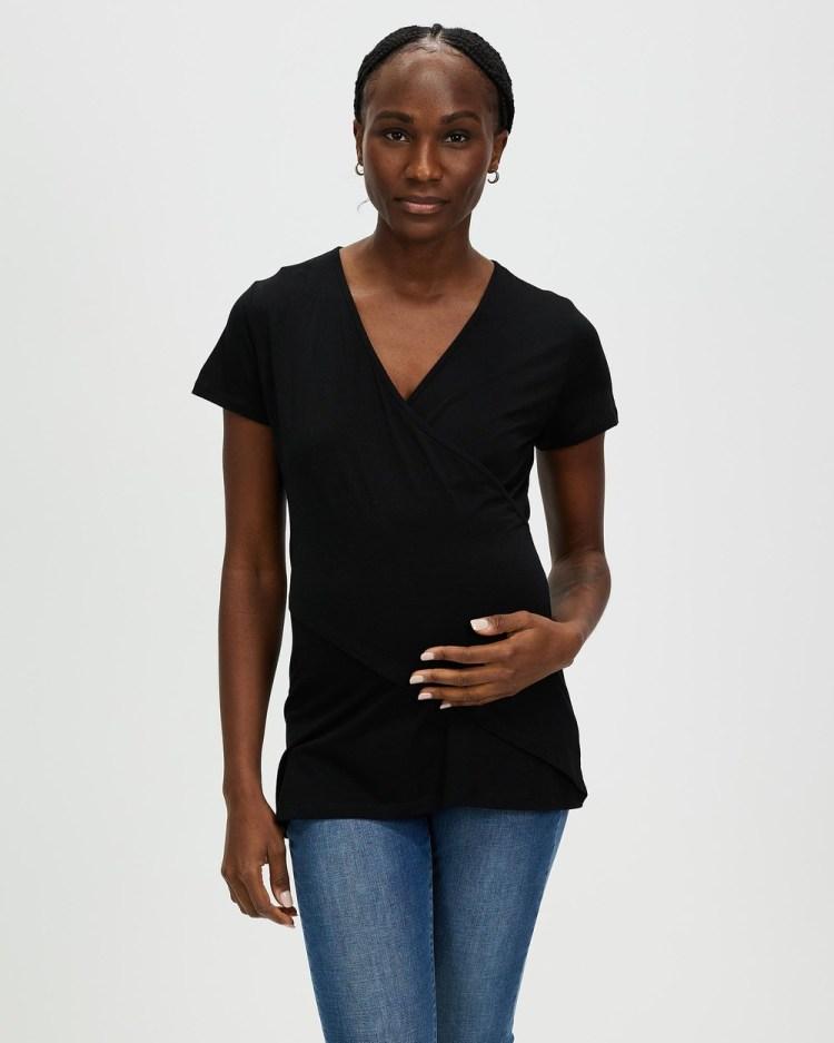 Angel Maternity & Nursing Crossover Short Sleeve Tee T-Shirts Singlets Black