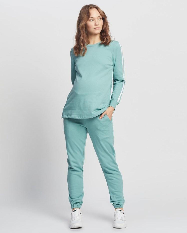 Angel Maternity And Nursing Long Tracksuit Set T-Shirts & Singlets Sage Green