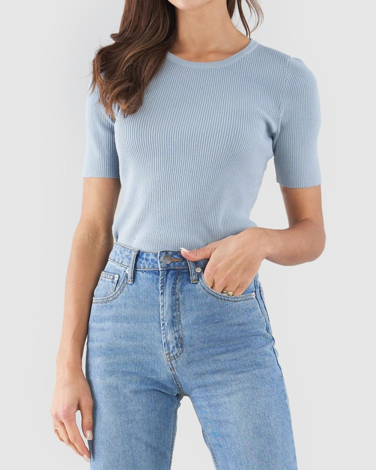 Amelius Afina Knit Top Tops Blue