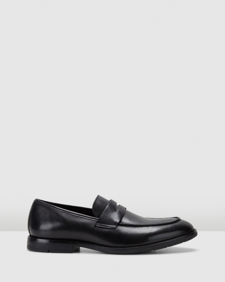Clarks Ronnie Step Dress Shoes Black Leather