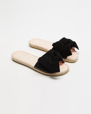 MANEBI ESPADRILLES Hamptons Sandals With Bow Black