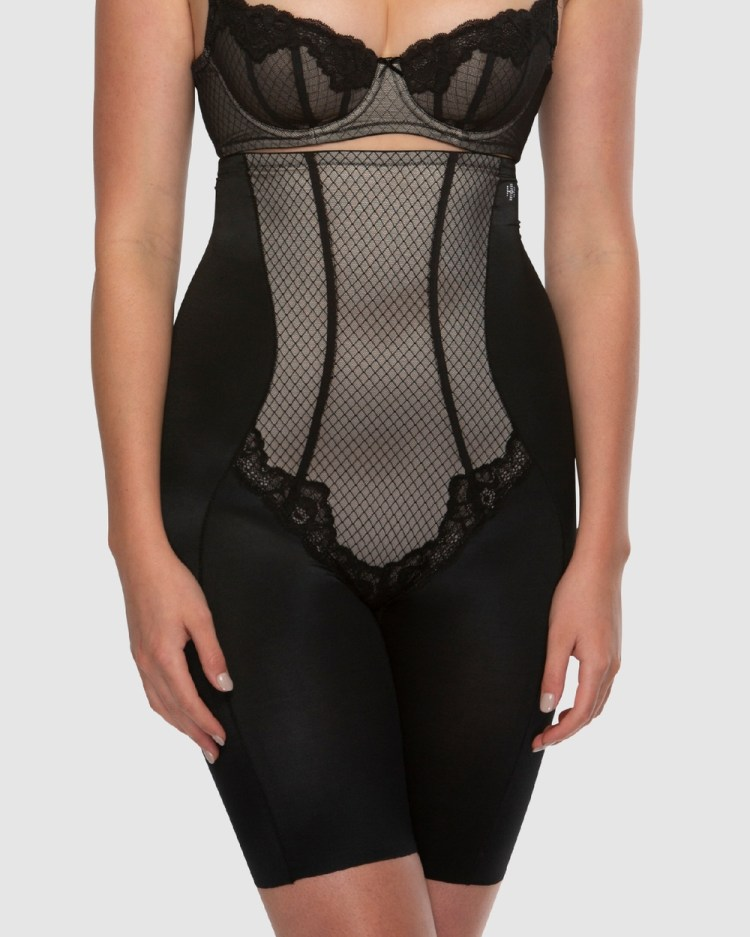 Hush Whisper Firm Control High Waist Thigh Shapers Lingerie Black / Nude