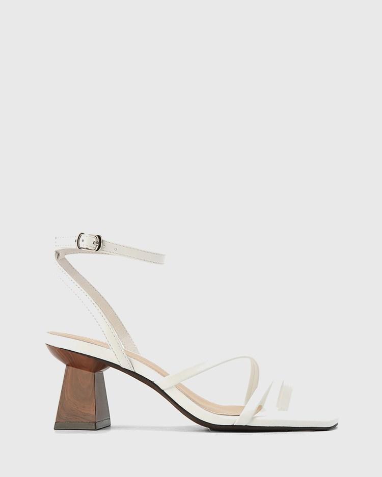 Wittner Kaiya Leather Strappy Sculptured Heel Sandals White
