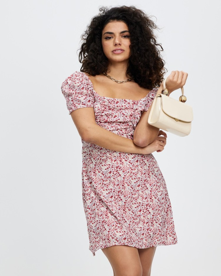 Missguided Petite Ditsy Ruched Puff Sleeve Skater Printed Dresses Red