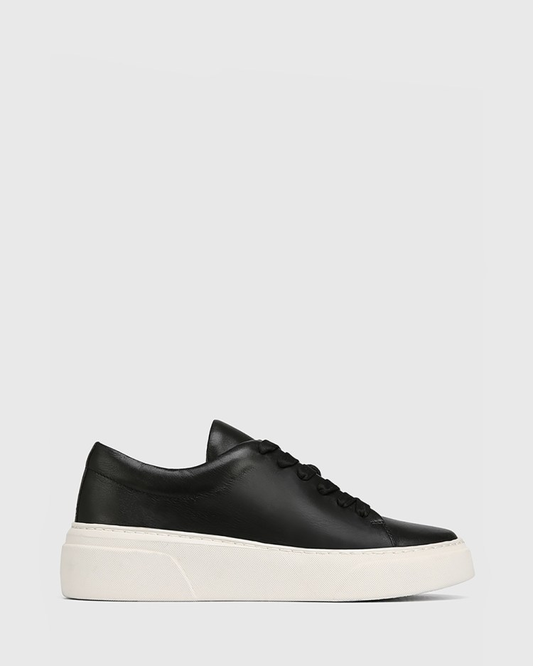 Wittner Saga Leather Lace Up Sneakers Lifestyle Black