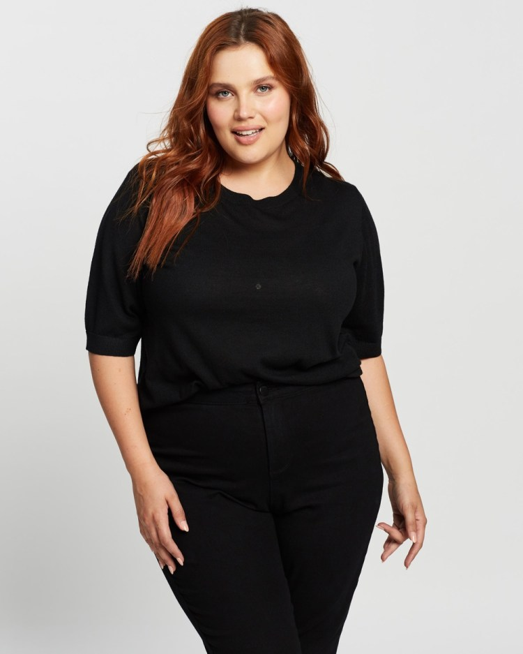 Atmos&Here Curvy Paloma Knitted Top Tops Black