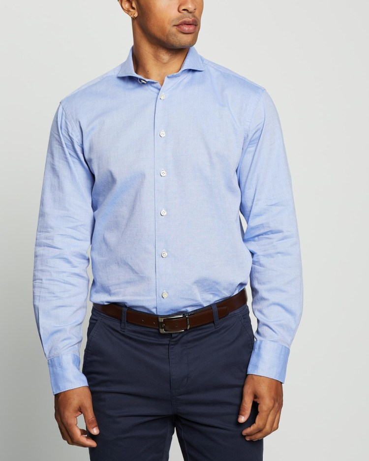 3 Wise Men The Firth Tailored Shirt Shirts & Polos Blue