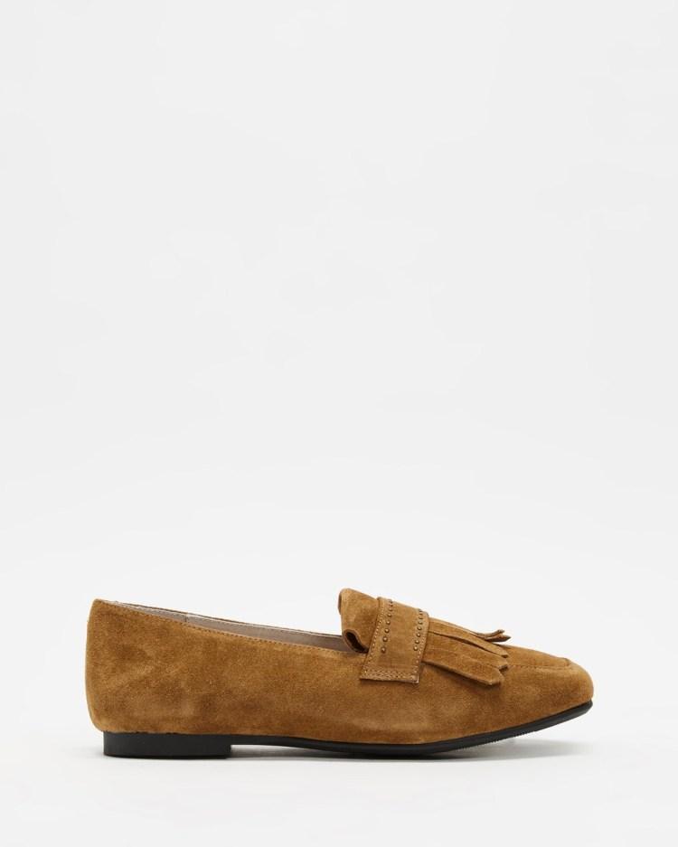 Walnut Melbourne Carolina Leather Loafers Flats Sand Suede