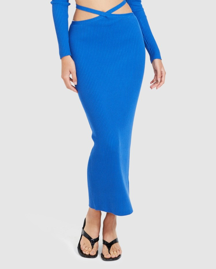 Alice In The Eve Izzy Strappy Knit Midi Skirt Skirts BLUE