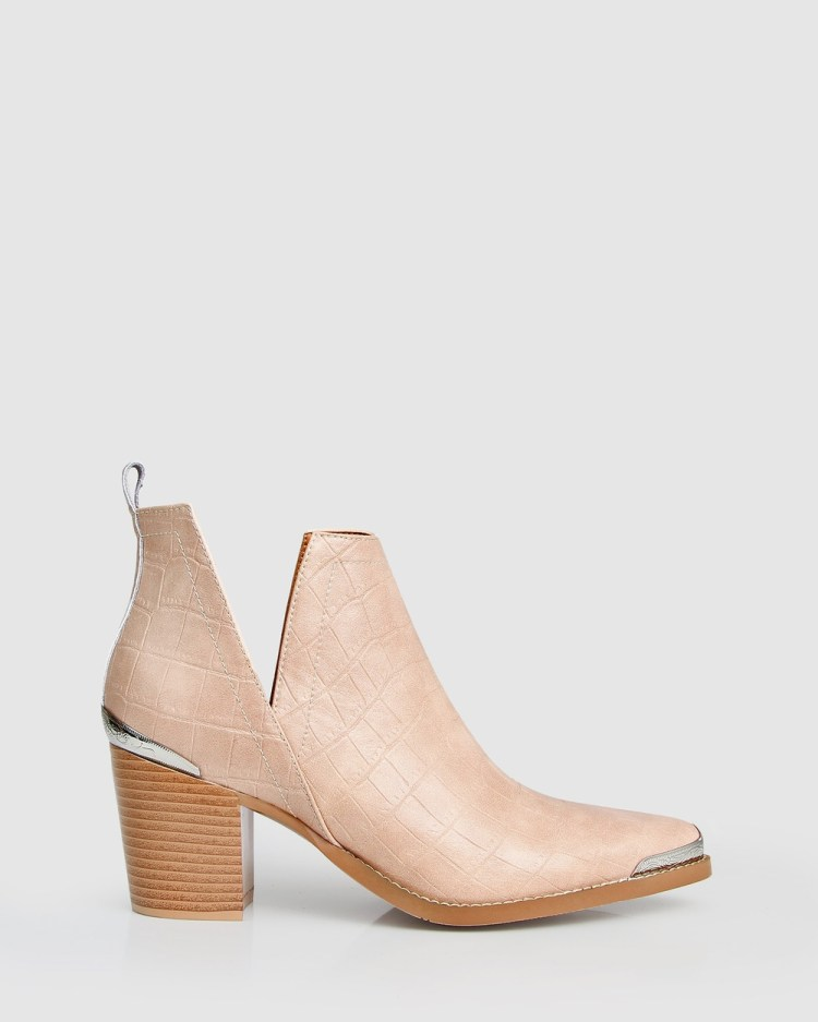 Belle & Bloom Austin Croc Embossed Ankle Boot Boots Blush