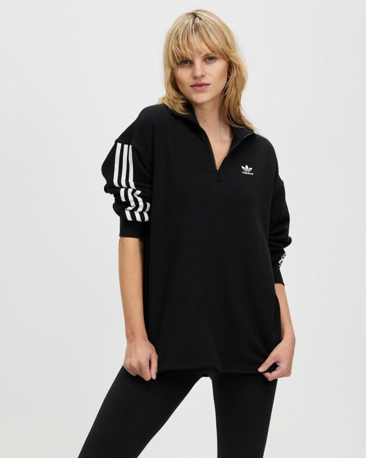 adidas Originals Adicolor Classics Half Zip Sweatshirt Sweats Black Half-Zip