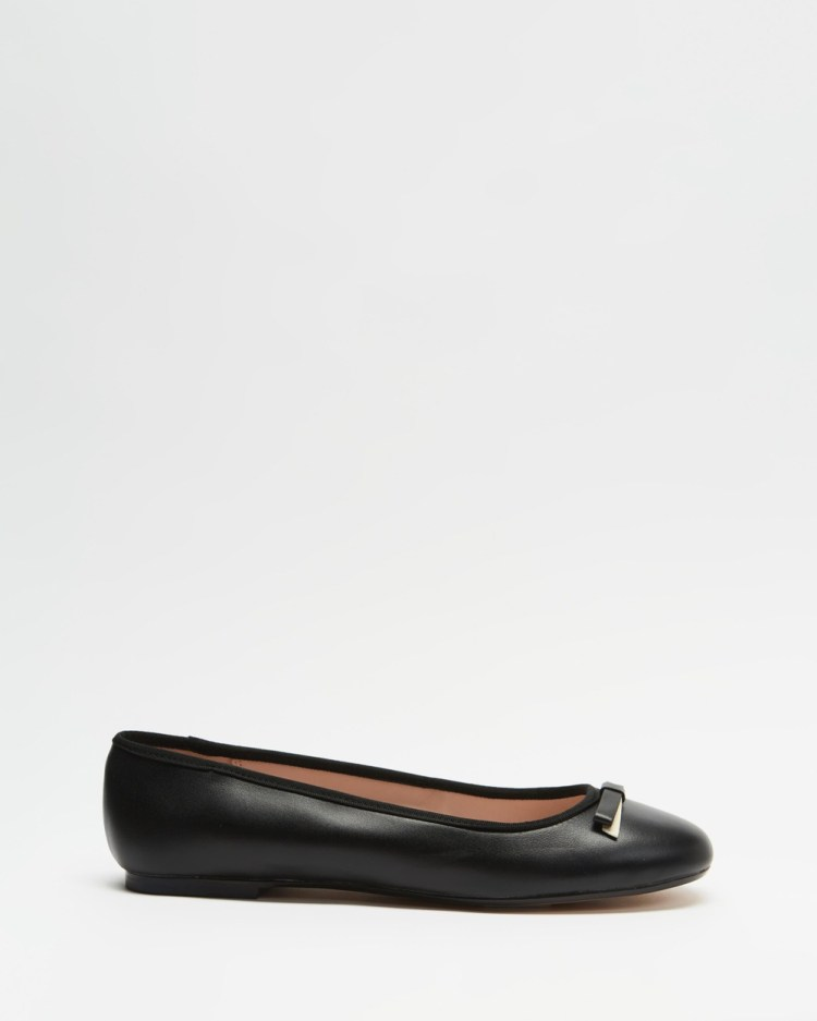 Ted Baker Sualo Leather Bow Ballerina Shoes Ballet Flats Black