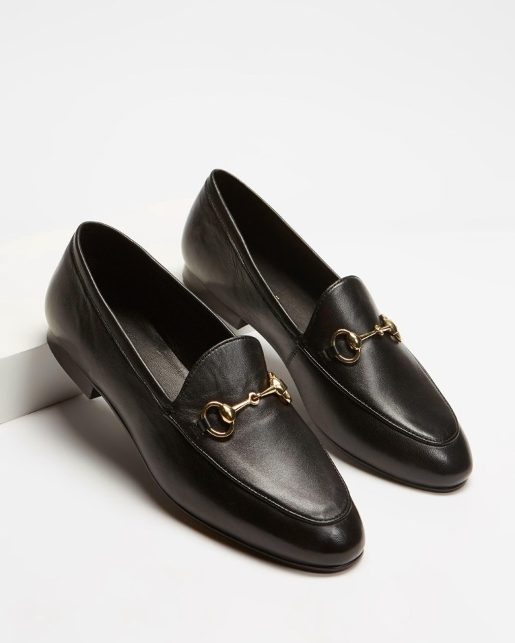 Atmos&Here Alexandra Leather Flats Black Leather