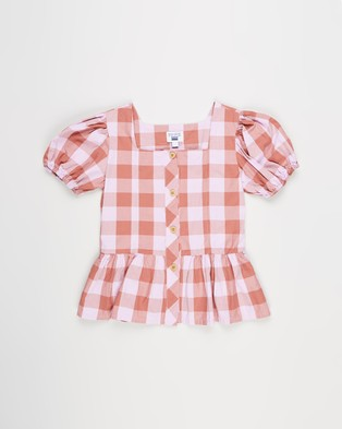Free by Cotton On Shiloh Puff Sleeve Top Teens Tops Chutney & Pale Violet Gingham