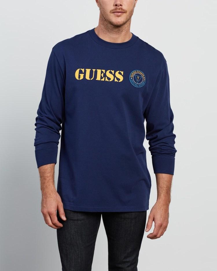 Guess Originals LS Stencil Logo Tee T-Shirts & Singlets Cave Blue