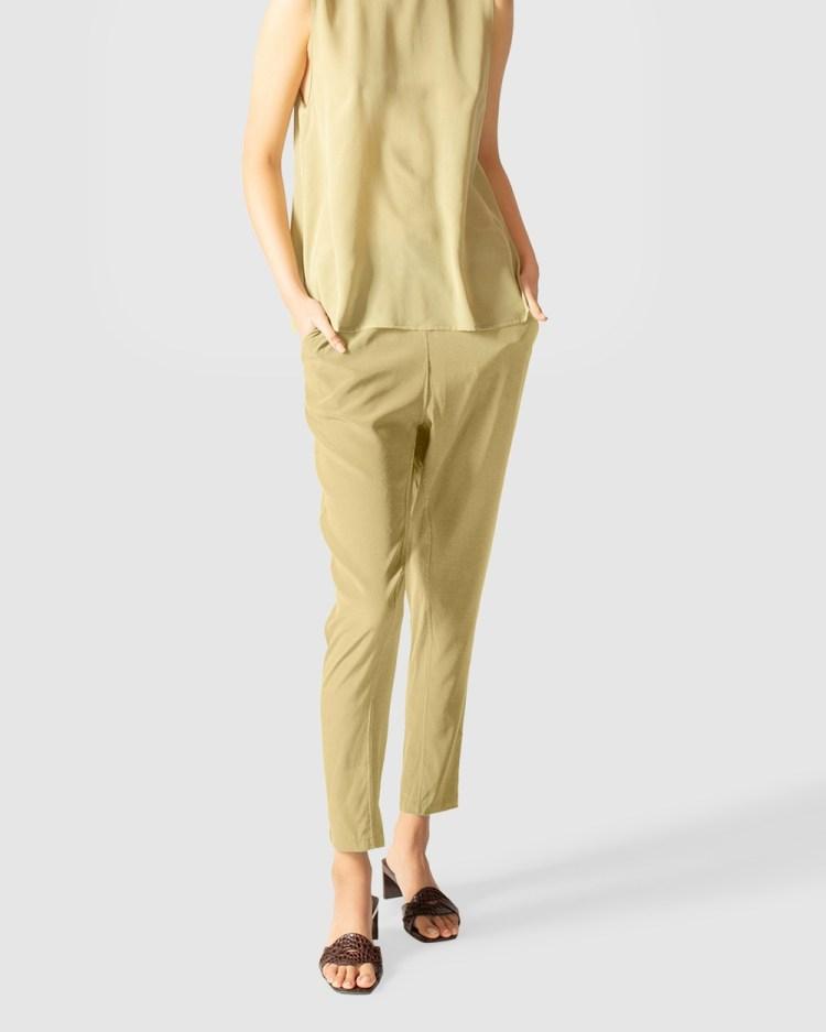 GINIA RTW Cara Silk Pants Green