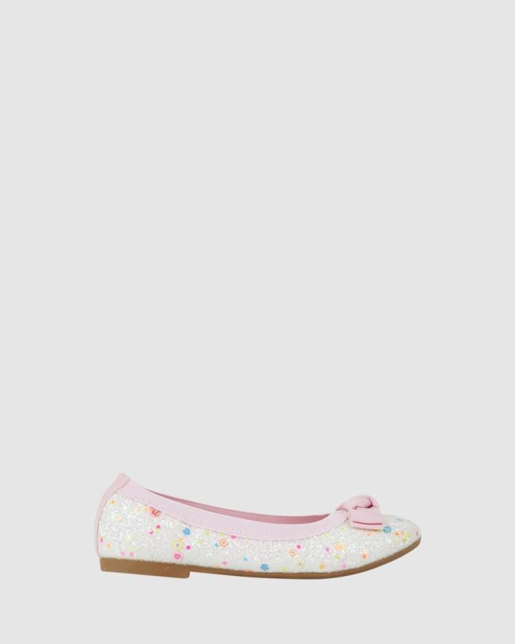 Kicks Keely Chunky Glitter Ballet Flats White/Pink