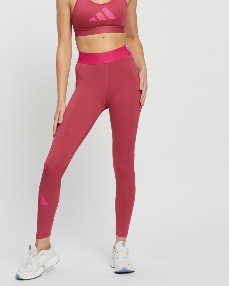 adidas Performance Techfit Mid Rise Long Tights Full Wild Pink & Screaming Pink Mid-Rise