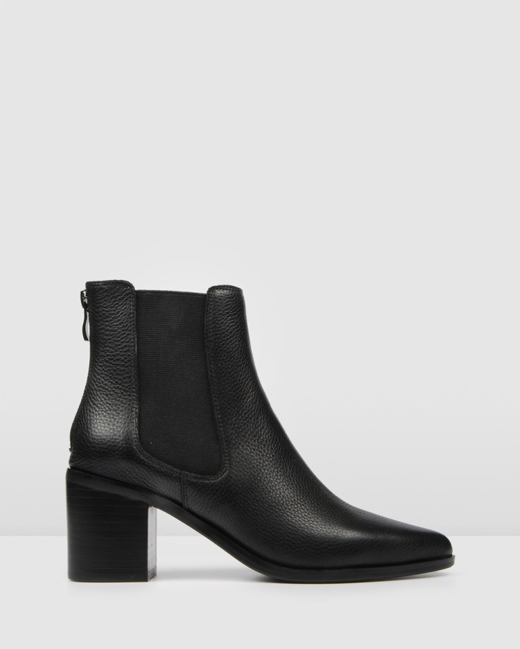 Jo Mercer Allure Mid Heel Ankle Boots BLACK LEATHER