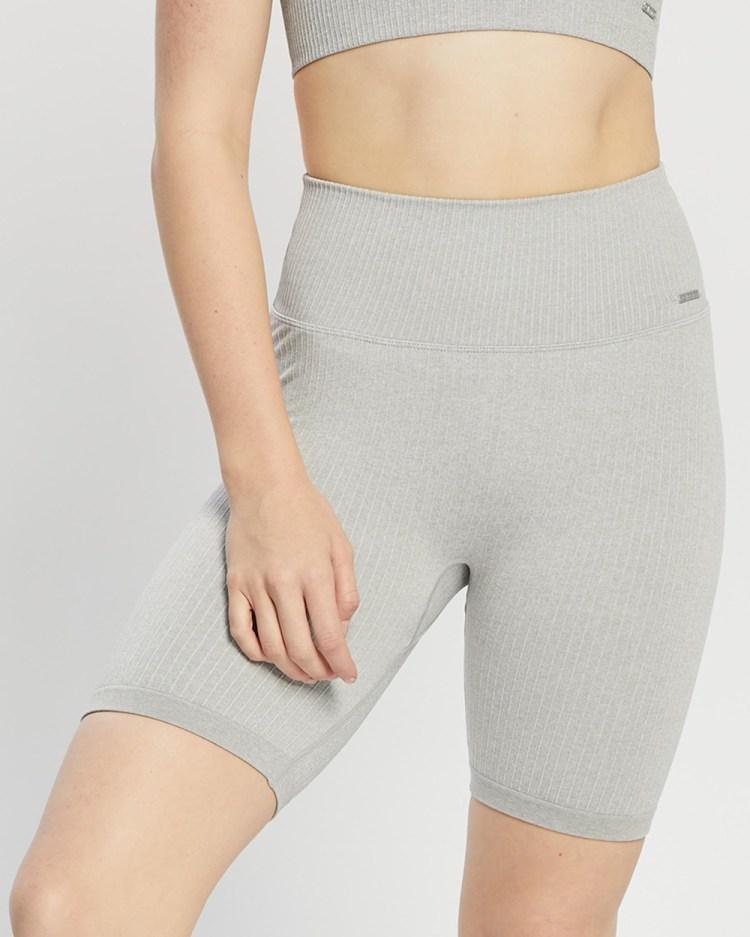 Aim'n Ribbed Seamless Biker Shorts 1/2 Tights Light Grey Melange