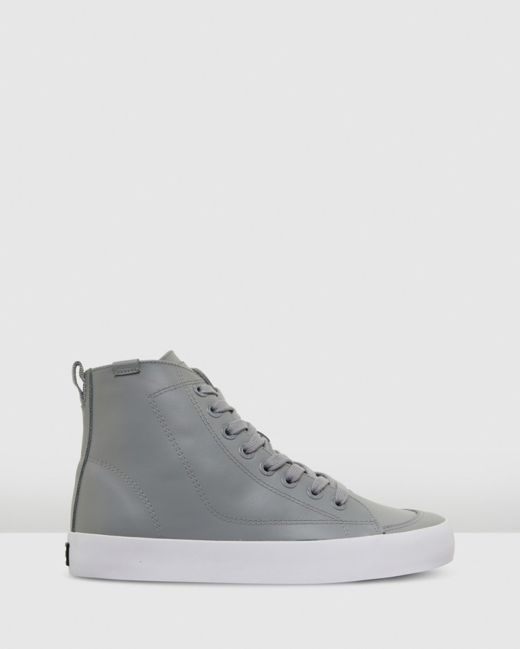 Volley Deuce Leather High Top Sneakers Grey Leather
