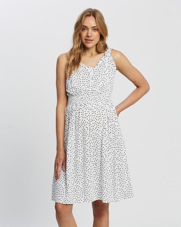 Angel Maternity & Nursing Sleeveless Dress Printed Dresses White and Black Polka Dots