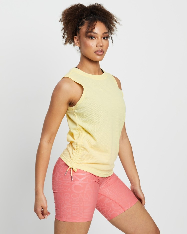 Calvin Klein Performance Ruched Side Tie Tank Muscle Tops Yellow