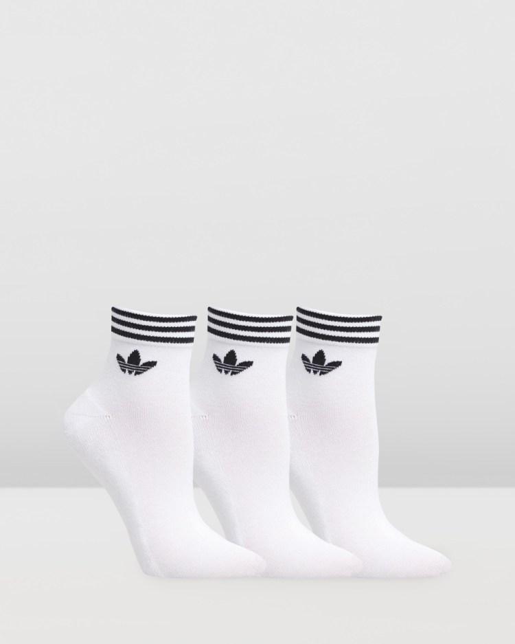 adidas Originals Trefoil Ankle Socks 3 Pack Underwear & White Black 3-Pack