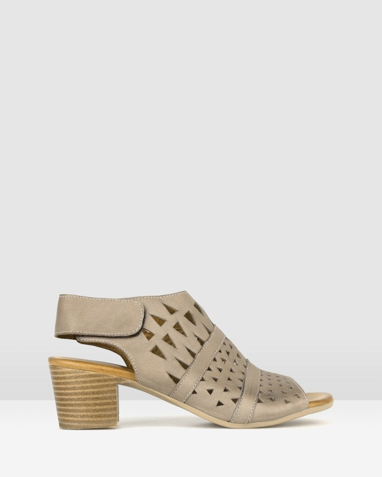 Airflex Delicious Cut Out Leather Sandals Taupe