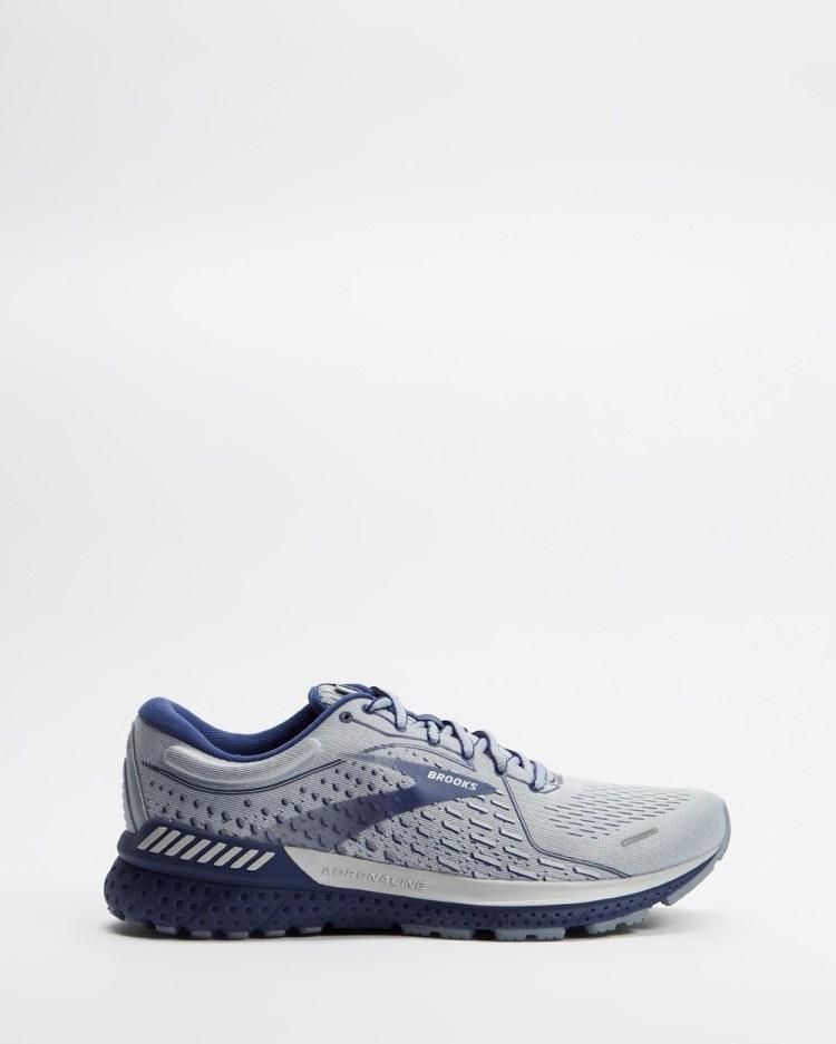 Brooks Adrenaline GTS 21 Mens Outdoor Shoes Grey, Tradewinds & Deep Cobalt